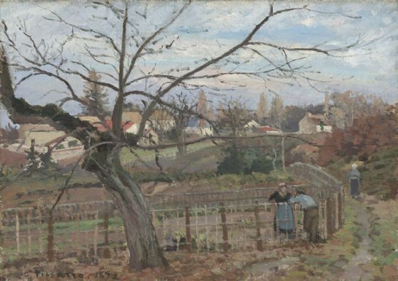 Pissarro, Camille: The Fence. Fine Art Print/Poster. Sizes: A4/A3/A2/A1 (003954)
